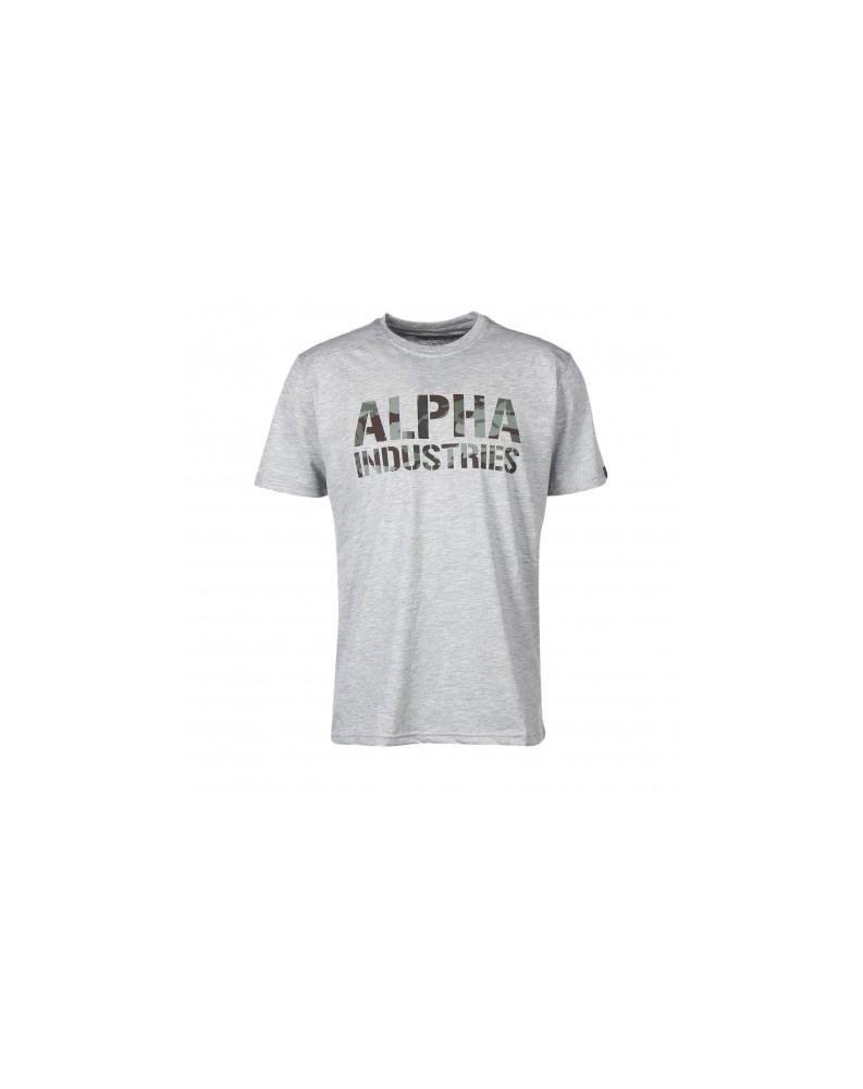Tričko CAMO PRINT T Alpha Industries GREYHEATHER/WOODLAND