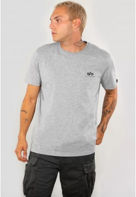 Tričko BASIC T SMALL LOGO Alpha Industries GREY HEATHER