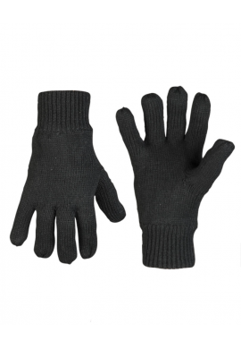 Pletené prstové rukavice ACRYL THINSULATE™ ČERNÉ
