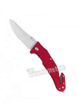 Zavírací nůž s klipsem a břitem na bezp. pásy červený