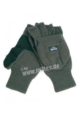 Pletené rukavice s překlopkou ACRYL OLIV