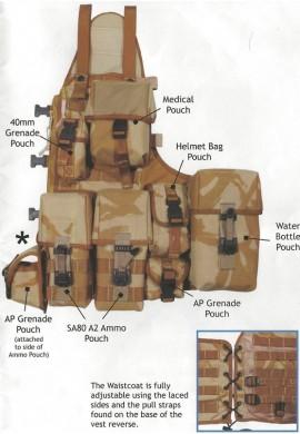Britská taktická vesta mole desert s 5 kapsami