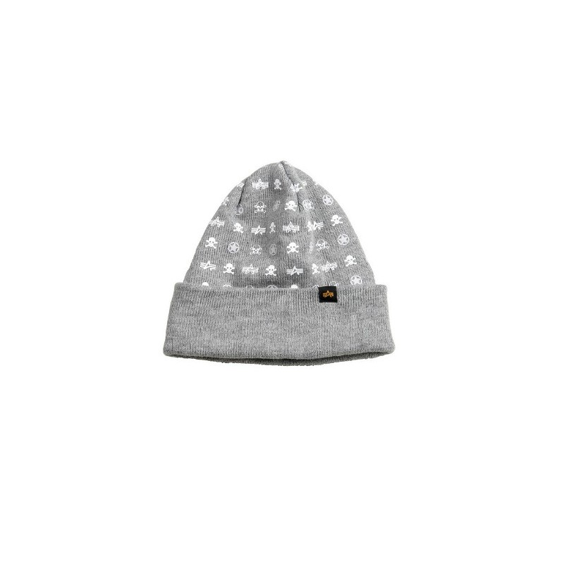 Čepice All Over Beanie, Alpha Industries - Grey heather