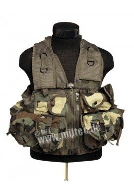 Taktická vesta 9 kapes woodland