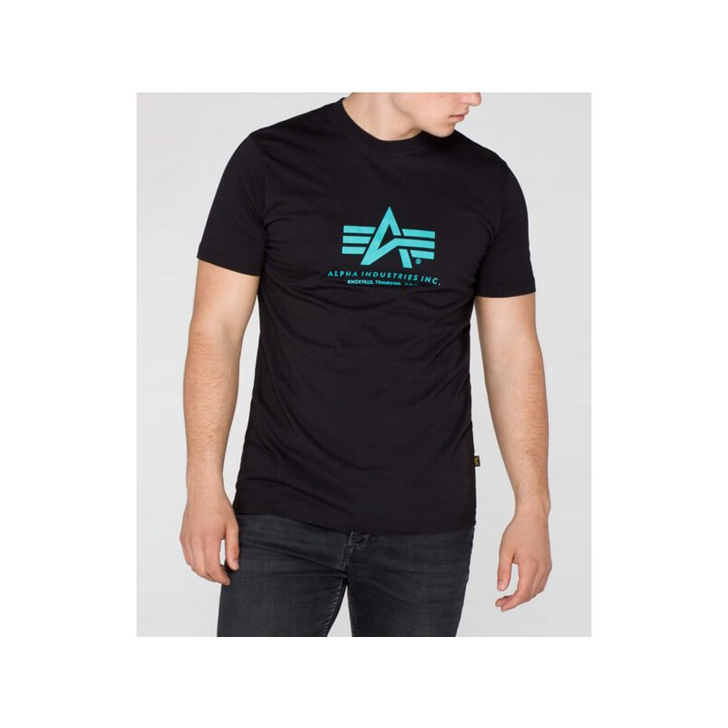Tričko BASIC T Alpha Industries, BLACK/BLUE