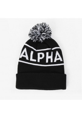 Čepice BLOCK BOBBLE BEANIE Alpha Industries BLACK