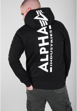 Mikina BACK PRINT HOODY Alpha Industries BLACK