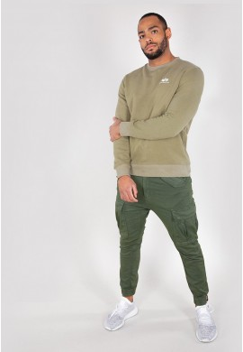 Mikina BASIC SWEATER SMALL LOGO Alpha Indst. OLIVE