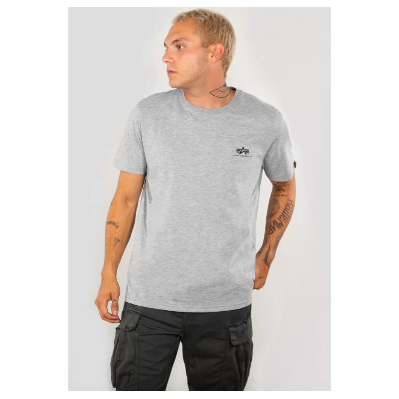 Tričko BASIC T SMALL LOGO Alpha Indst. GREYHEATHER/WHITE