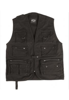 Lovecká, rybářská vesta moleskin, černa