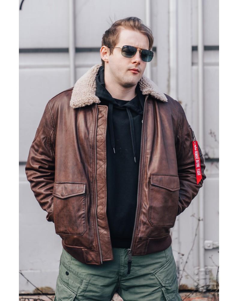 Kožená bunda G1 Leather Alpha Industries Brown