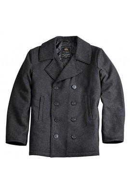 US NÁMOŘNÍ KABÁT PEACOAT Alpha industries DARK GREY