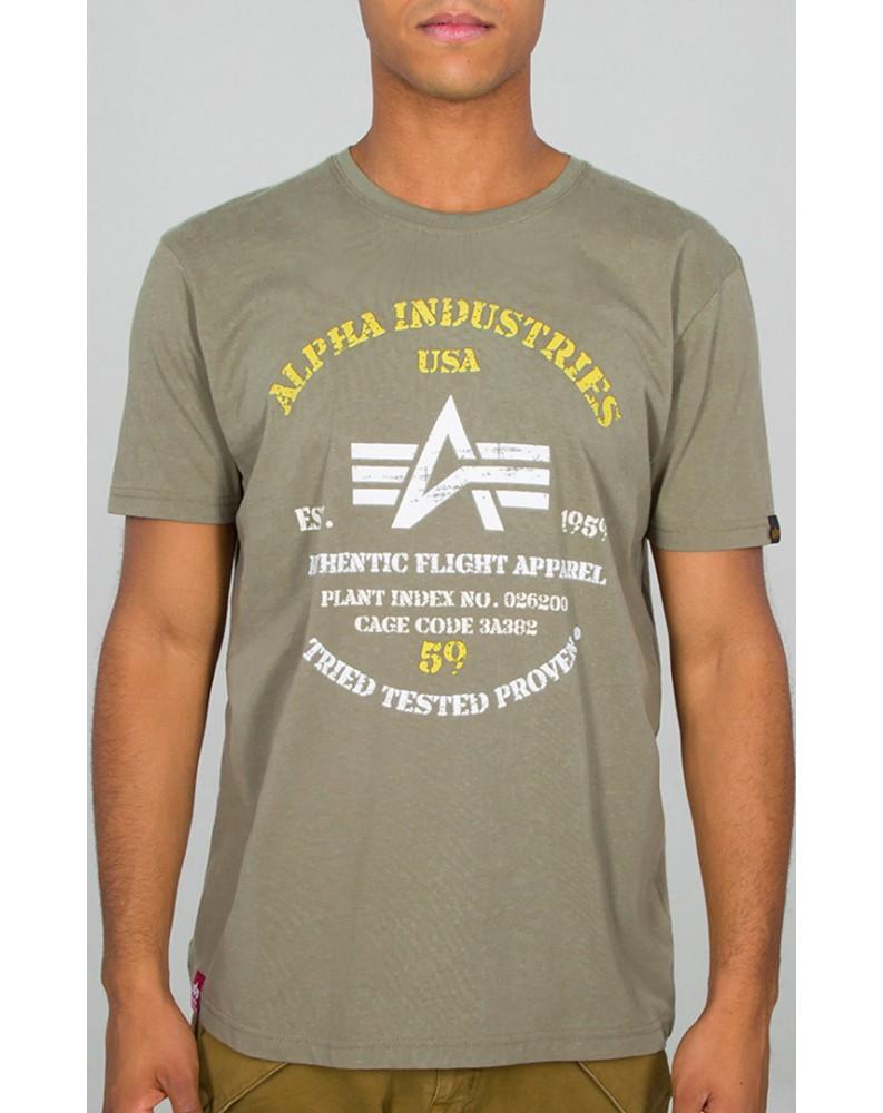 Tričko AUTHENTIC PRINT T Alpha Industries OLIVE