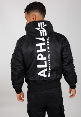 Bunda MA-1 ZH Back Print Alpha Indst. BLACK/WHITE